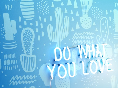 Do What You Love wallpaper light fluorescent sign 3d modo illustration
