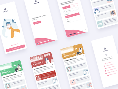 Mobile App Covid-19 | Medical Form App result loading typeform staysafe stayhome questionnaire outsystems mobile layout illustration form flat clean card app