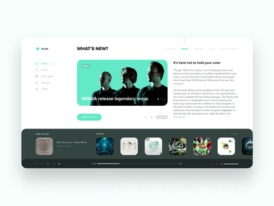 Music App and Portal | Daily UI ui ux clean app web card product dashboard layout typography detail desktop minimal design sketch music app player pattern website dailyui