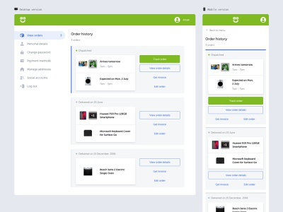 My Account Order History Page icons ui design ux design order details orders menu account your account my account order history user experience design user interface design ui  ux ux ui