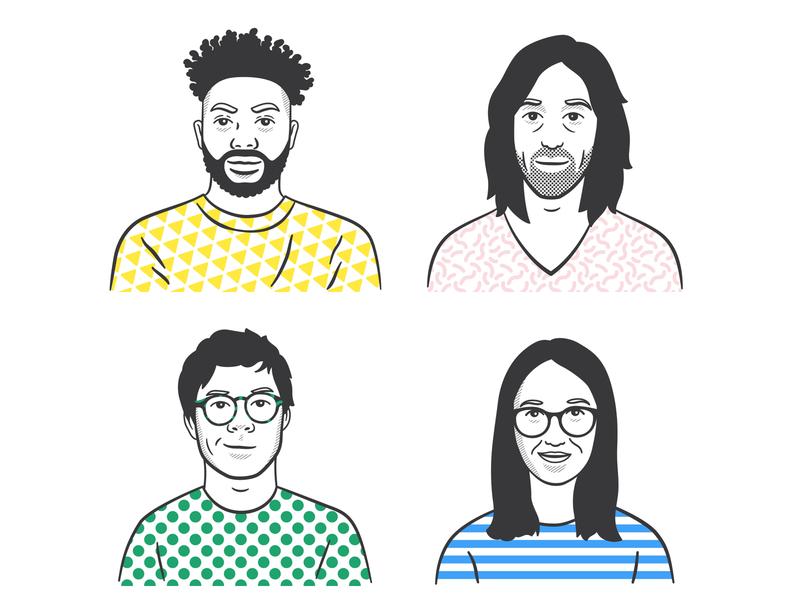 Avatar images minimalist minimal art people team avatars portrait character illustration