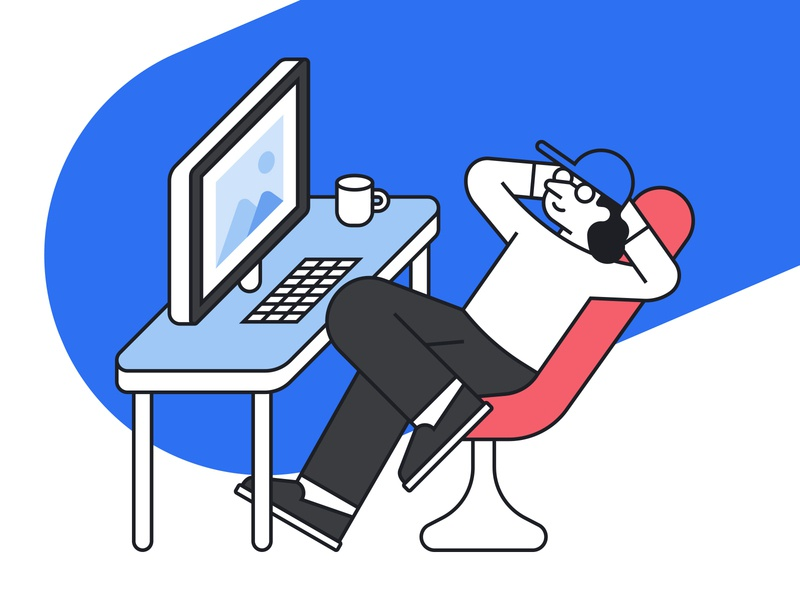 UXer chilling out in front of the office desk ux design ux thinking monitor vector illustraiton ux designer relaxing office desk desk chair uxer chilling