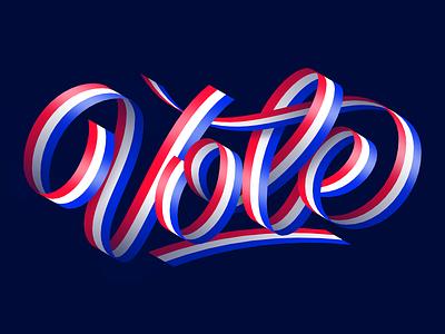 Vote usa flag illustration design vote america artwork lettering art letters usa ribbons ribbon lettering