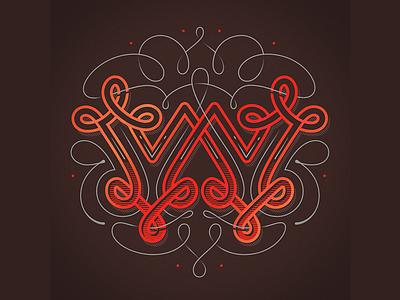 Typefight W ribbon typefight typo vintage ornamental w type lettering