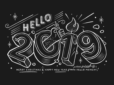 Happy 2019 Gift Card celebration letters packaging design print gift card card new year 2019 handlettering lettering numbers