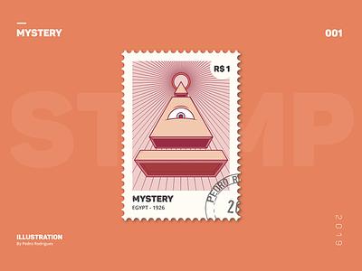 STAMP COLLECTION - 001 mystery eye illuminate egyptian egypt vector stamp design illustration