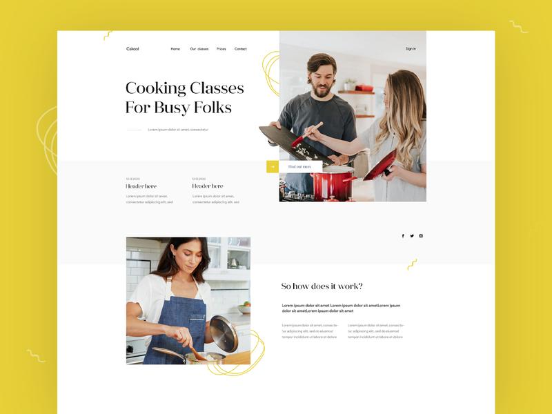 Cooking Classes - Landing page exploration classes cooking landing page web design