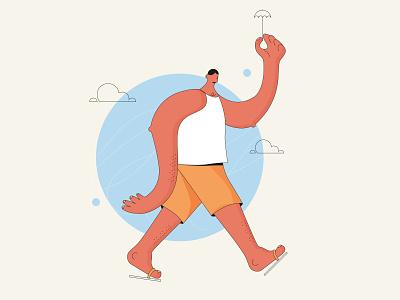A summer walk shorts unmbrella holiday vacations sun walking design character design illustraion