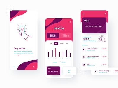 Another banking app :) mobile app mobile ui spendings income chart finance banking app finance app illustration design bank app