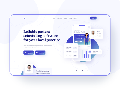 Landing page hero exploration - patient scheduling software patient app doctor appointment hero exploration hero section landing page web design