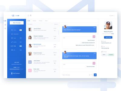 Mail client app - chat web app design mail client chat app inbox mail app app design web