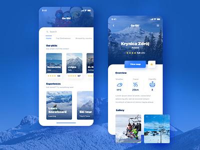 Ski resorts app snowboard ski design blue color ios app ski resort travel app