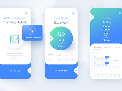 Blood pressure monitor app medical app health app pressure monitor ios app design app design blood pressure