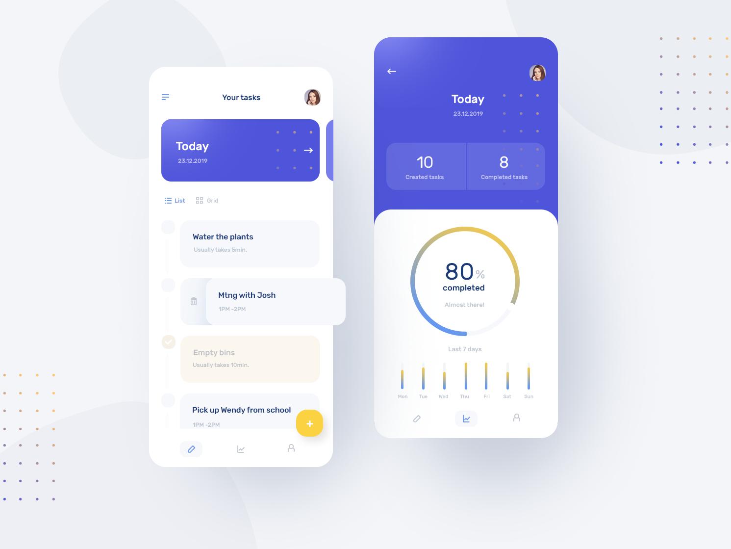 Task Manager App list charts user interface minimal design app task manager