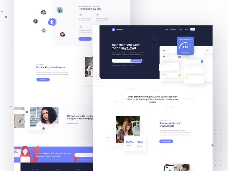 Team and Project Management Tool - Landing Page team management project management tool web design landing page design landing design landing page