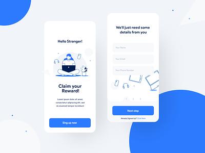 Claim your reward! outline reward illustration web app design