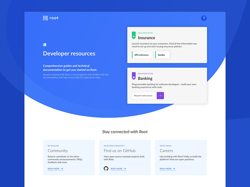Documentation landing page by Jo Chevalier for Root on Dribbble