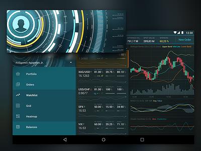 Android Trading Platform Menu Artwork menu interface finance trading android material illustration