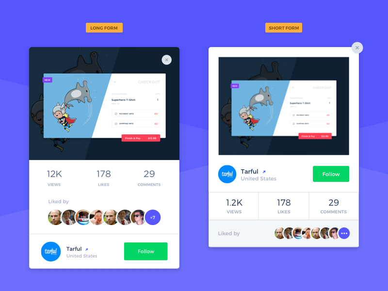 Shot Card variations framework concept stats profile followers dashboard component flow  process web app layout product template ui ux dailyui features layout card design