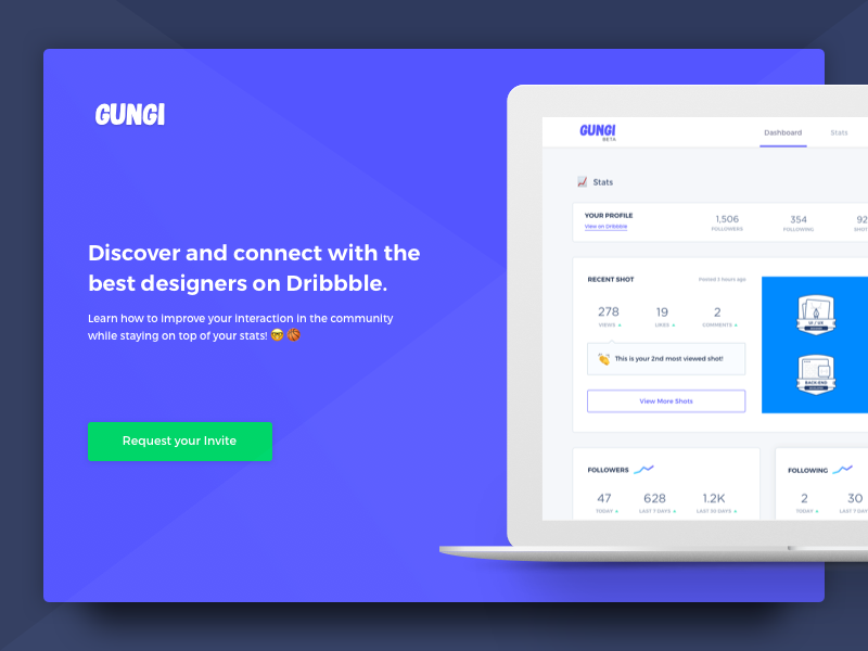 Gungi beta launch dashboard splash design web app mockup product template discovery platform dailyui subscribe stats page ui ux beta launch landing page