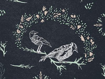 Bird Pattern: Detail bird illustration pattern