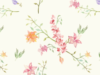 Orchids in Watercolour watercolour illustration pattern