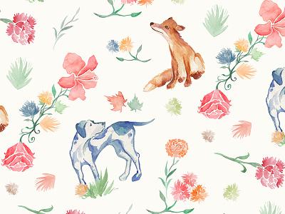 Fox & Hound watercolour illustration pattern fox dog floral