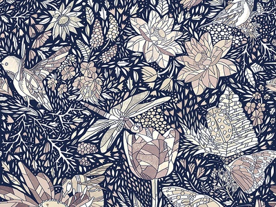 Wings & Wanderings pattern illustration floral