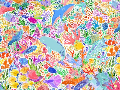 Fathomless Deep illustration pattern underwater shark narwhal