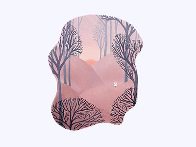 Risen sunrise sun woods alone tree