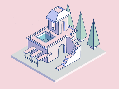 Impossible House house pink isometric illustration