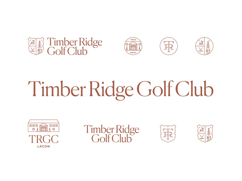 Timber Ridge Golf Club Brand Identity country club timber logo deer logo crest logo green logo lacon peoria illinois family crest crest golfing golf identity branding line logo golf course