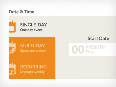 Date selector unit date ui selector flat design form web ricky synnot everguide