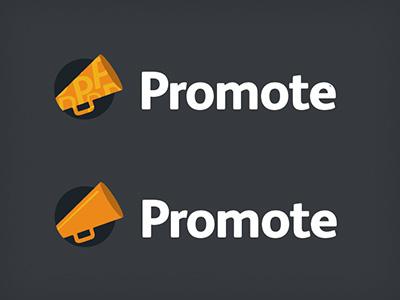 Promote Logo options promote everguide ricky synnot design orange web app trumpet speech dialogue