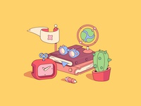 Traveler stories glasses globe clock flag cactus books book traveler flat illustrator illustration vector