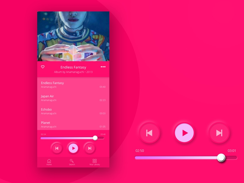03. Pink Matte Neumorphic itunes apple spotify music player music interface ui ui design product design product