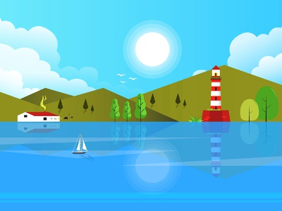 Landscape Vector Illustration beauty clouds sky lighthouse boat explore landscape travel places nature graphic design design graphic art adobe illustrator vector illustration