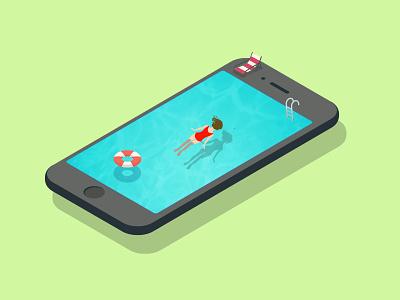 User Experience mobile design swimming art concept mobile ux ui graphic art vector illustration