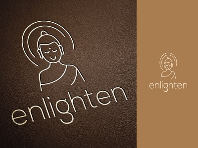 Logo Design for Enlighten line branding design logo design enlighten wellness logo zen monk buddha meditation icon typography branding india logo