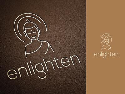 Logo Design for Enlighten line branding design logo design enlighten wellness logo zen monk buddha meditation icon typography branding india logo