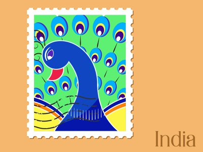 India - Illustration icon places vector illustration concept graphic art adobe illustrator graphicdesign indian peacock india travel stamp design vector illustration