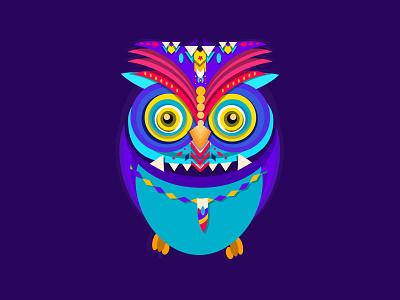 Vector art pattern colorful hippie tribal owl graphic design design vector graphic art illustration