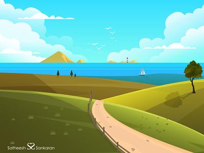 Landscape Art - Vector Illustration travel landscape art nature design adobe illustrator graphic art vector illustration landscape