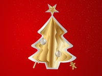 Christmas tree vector art with paper flip effect