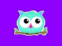 Cute owl character illustration for sticker
