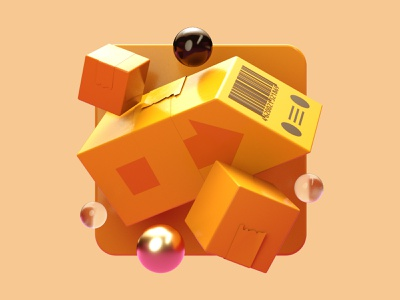 Improv 3D Illustrations // Delivery orange ui branding illustration c4d concept 3d logo design
