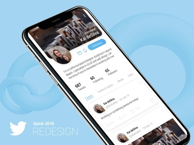 Quick Twitter Redesign profile iphone x interface ux ui 3d graphic design design redesign blue quick twitter