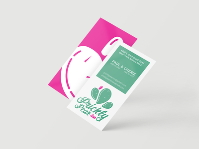 Prickly Pear Inn – Business Card Mockup conceptualize visualize client mockup green pink prickly pear cactus logo business card