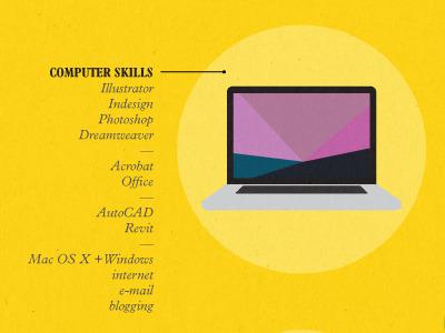Curriculum Vitæ yellow illustration resume curriculum vitae macbook pro personal
