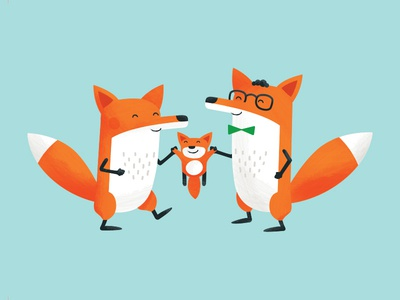 Foxes Birth Card